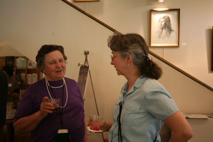 Betsy Scible on right with visitor